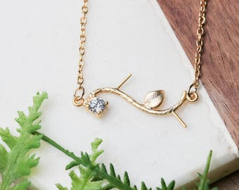 Simple vine necklace | Gold plated layering necklace | Gifts for her under 20 | CZ necklace | Elegant vine jewelry | Nature lover gift |