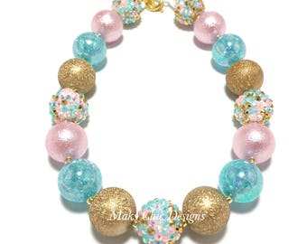 Toddler or Girls Pink, Turquoise and Gold Chunky Necklace - Princess Chunky Necklace - First Birthday Necklace - Pink and Gold Necklace