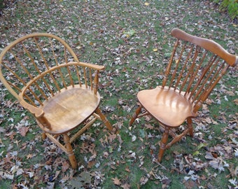 2 Rustic Americana Colonial Style Solid Maple Wooden Chairs, A Mismatched Set in Good Condition with the Maker's Mark stamps on both chairs