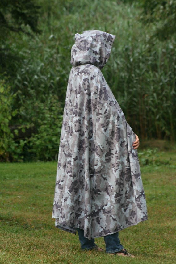 Grey, White Camouflage Cloak, Flannel