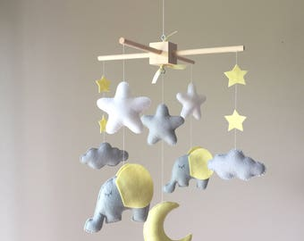 READY TO SHIP Baby crib mobile - Elephant Mobile - Baby Mobile  - Neutral Mobile - Yellow and Gray Baby Mobile