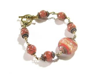 Murano Glass Wire Wrapped Coral Bead Toggle Bracelet, Venetian Glass Bracelet, Italian Jewelry, Gift For Her, Handmade Beaded Jewelry