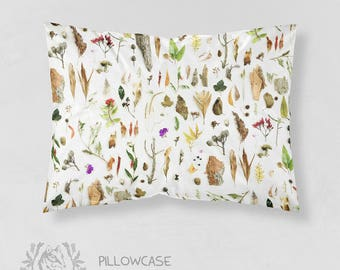Australian Botanical Pillowcase Bushland Native Flora | Choose from Organic Cotton Sateen or Standard Cotton Sateen. Handmade to Order