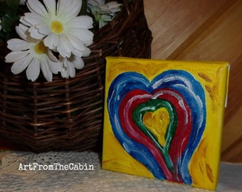 Heart Painting, Canvas painting, Rainbow Heart, Small art, 4x4 inch Canvas Art, Heart, Rainbow, Blue, Green, Red, Yellow, ArtFromTheCabin