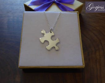 Silver Puzzle Piece Pendant - Autism Necklace - Handmade Jigsaw Puzzle Necklace - Friendship Necklace