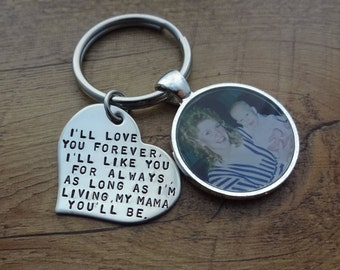Personalized Hand Stamped Heart Photo Charm Keychain - Mother of the Bride Gift - Gift for Mom - Gift for Her - Mother of the Groom