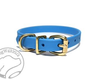 "NEW- Caribbean Blue - 5/8"" (16mm) Wide  - Small Biothane Dog Collar - Leather Look and Feel - Custom Size - Stainless  or Brass Hardware"