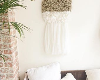 Wall hanging, sand and white cloud, woven wall hanging, texture