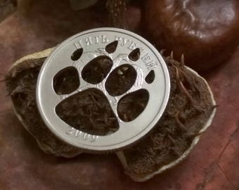 Cat paw footstep Coin cut pendant necklace pet tag charm Handmade jewelry genuine coin