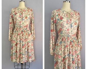 Tapestry dress | vintage 1970s rayon dress | 70s winter floral dress | s - m