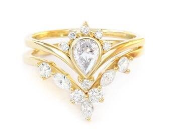 1/2 Ct Natural Diamonds Bridal Rings Set, Pear Diamond Engagement Ring SUNRISE+Marquise Diamonds Side Band HERMES V Ring, 14K/18K Solid Gold