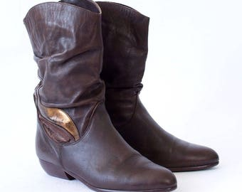 Vintage Women's Brown Lined Leather Heeled Ankle Calf Boots UK 7 EU 41 US 9
