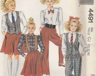 Girls 80sWardrobe Pattern McCalls 4491 Sizes 10 - 14 Uncut