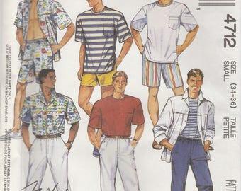 Mens Shirt, T-Shirt And Pants or Shorts Pattern McCalls 4712 Size 34 36 Uncut