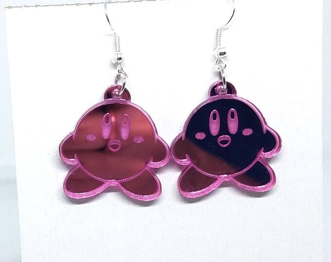 Kirby Pink Dangle Earrings | Laser Cut Jewelry | Hypoallergenic Hook Dangle Earrings | Acrylic Earrings