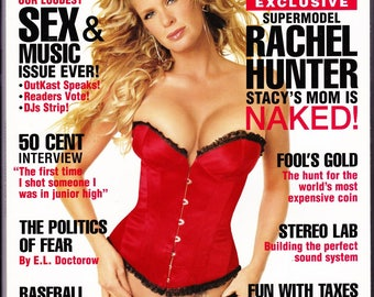 Playboy Magazine April 2004 With Supermodel Rachel Hunter, Playmate Krista Kelly, Kevin Smith, 50 Cent, Politics of Fear, Baseball Madness