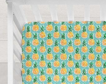 Crib Sheet Pineapples Tropical Yellow Aqua Black White Pineapple Hipster Baby