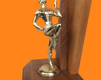 Majorette Baton Twirling Trophy - 3rd Place Strut Award Wood and Goldtone Metal