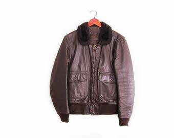 vintage jacket / USN jacket / G1 flight jacket / bomber jacket / 1960s G-1 brown leather bomber jacket Medium