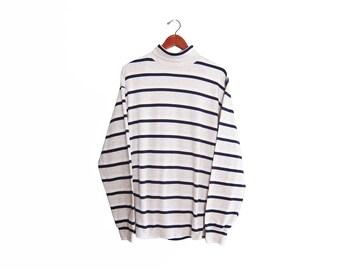 vintage t shirt / striped t shirt / striped long sleeve / 1990s GAP striped long sleeve turtle neck XL