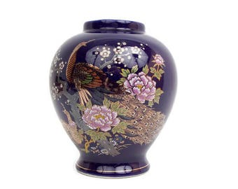 Vintage Cobalt Blue Vase Gold Peacocks Asian Design Toyo Japan Porcelain Deep Blue Urn Pink Lotus Temple Jar