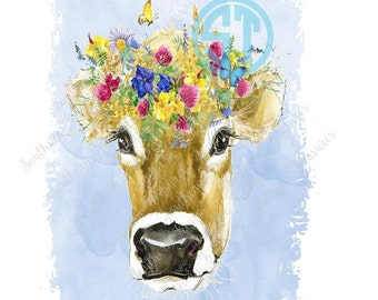 Floral Cow Head Sublimation Heat Transfer Pre Made DIY Iron On Personalized HTV Vinyl You Choose