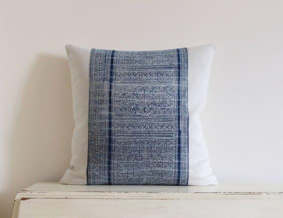 """Hmong indigo batik pillow cushion cover 18"""" x 18"""""""