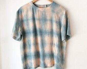 Indigo silk blouse (one size) indigo silk top