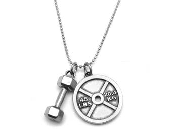 Dumbbell and 45lb Weight Plate Necklace - Nickel Free Fitness Charms - Stainless Steel Chain - Hypoallergenic and Tarnish Free - Gift Idea