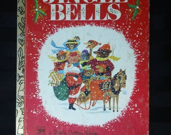 Jingle Bells by Kathleen N Daly and illustrated by J.P. Miller ~ Vintage 1979 Christmas Carol Children's Little Golden Book No. 458-1