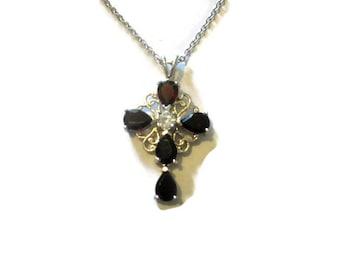 Vintage Silver Filigree Garnet Cross Necklace 18 inches