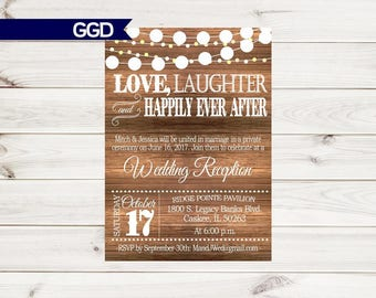 Rustic Wedding Reception Invitation With Lights, Vintage Invite,country  Chic Reception,Reception Only