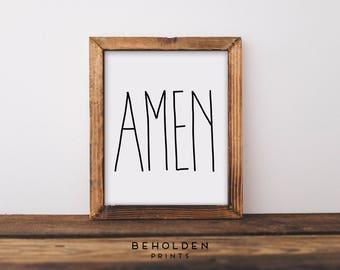 Amen, Scripture Wall Art, Quote Prints, Dorm Wall Art, Hand Lettered Truth, Christian Print, Dorm Decor, Calligraphy, Wall Art, Bible Quote