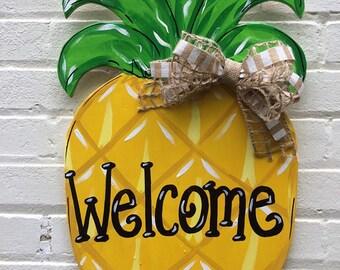 Pineapple Personalized Wooden Door Hanger Hand Painted