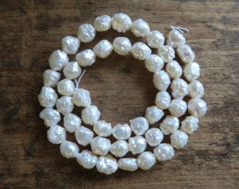 "Rare and Luxurious AAA All Natural Freshwater Rosebud White Pearls, 6mm - 8mm x 8mm x 9.5mm, 16"" Strand"