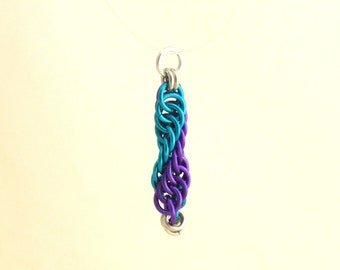 Science Pendant, DNA Pendant, Chain Maille Pendant, Science Jewelry, Spiral Jewelry