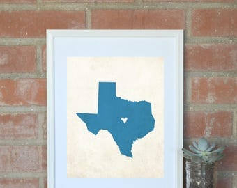 Texas Rustic State Map. Personalized Texas Map 8x10 Art Print. Housewarming Gift. Hometown Map. Hometown Pride Map. Graduation Gift.