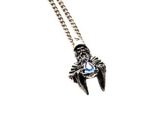 Pewter  Wizard Pendant Jewelry with Blue Crystal