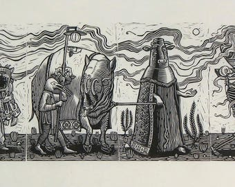 Procession (full) - Linocuts on paper - Kathleen Neeley