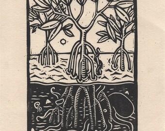 Mangrove (small) - Linocut on paper - Kathleen Neeley