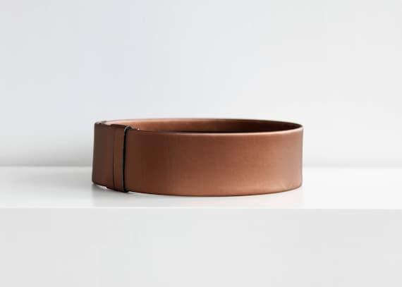Bronze waist belt- metallic bronze vegan leather women wide waist belt- modern and minimalist flat waist belt