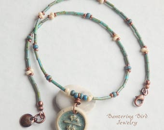 Nature Jewelry, Delicate Seed Bead Necklace with Small Ceramic Dandelion Pendant, Turquoise Blue and Cream Glass Beads, Copper Fall Jewelry