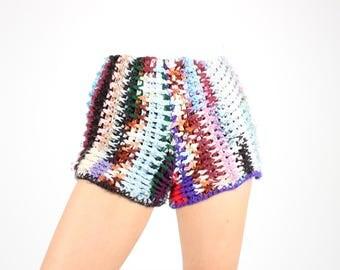 Handmade Rainbow Crochet / CHUNKY KNIT Avant Garde Granny Square High Waist Hotpants / Shorts - One of a Kind