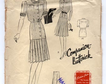 "1950's Butterick Two Piece Dress with tie waist pattern - Bust 34"" - no. 1316"