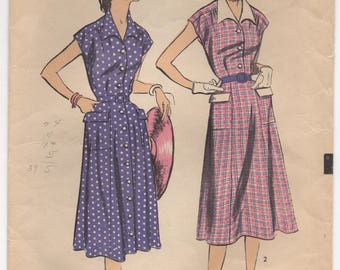 "1950's Advance One Piece Shirtwaist Dress with Pockets and Collar - Bust 38"" - No. 5780"