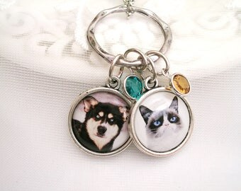 Photo Charm Necklace Photo Gift for Grandmom Gift for Wife Mother Jewelry Pet Memory Charms Dog Photo Necklace Birthstone Signature Jewelry