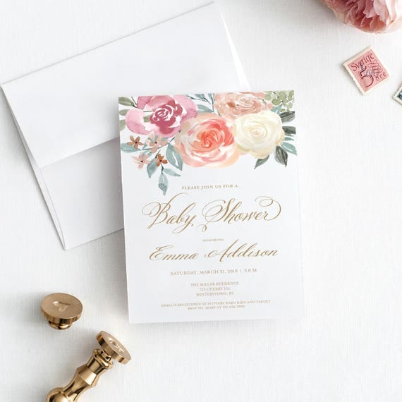 Watercolor roses baby shower invitation printed or printable il570xn filmwisefo