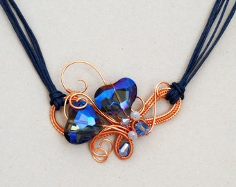 Blue heart necklace Wire wrapped Statement Crystal Copper Navy blue Anniversary gift for her girlfriend Mother's day gift one of a kind