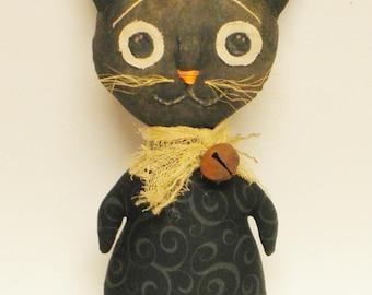 Primitive Cat Doll, Black Cats, Halloween Decor