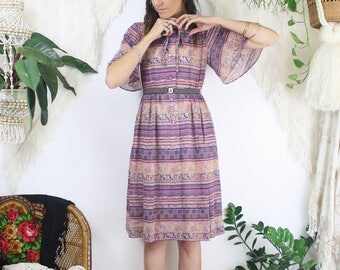 Bohemian Japanese Vintage Summer Dress, Pink Blue angel sleeve Day dress, Small 4176